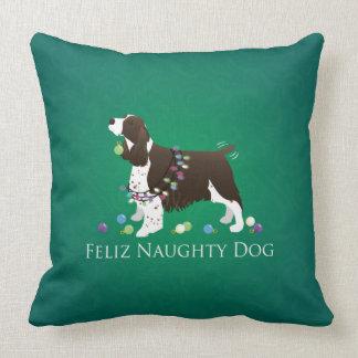 Brown Springer Spaniel Dog Feliz Naughty Dog Throw Pillow