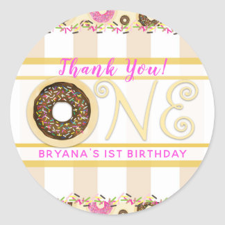 Brown Sprinkle Donut Donuts ONE 1st Birthday Party Classic Round Sticker