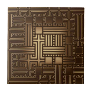 Brown Square Bronze Tone Maze Ceramic Tile