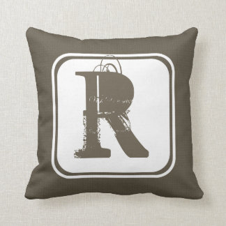 Brown Square Pattern with Customizable Monogram Throw Pillow
