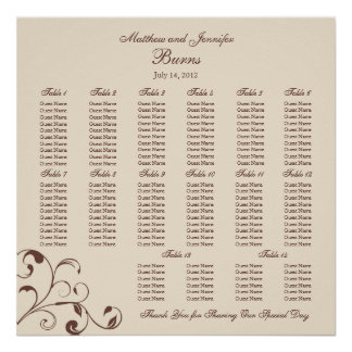 Brown Square Wedding Reception Seating Chart Poster