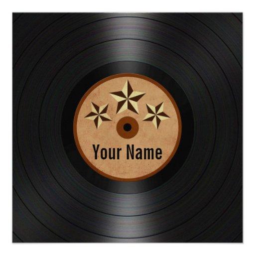 Brown Stars Personalized Vinyl Record Album Invitations