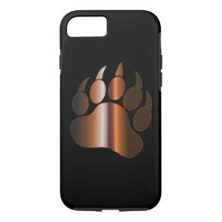 BROWN STEEL BEAR PAW ON BLACK iPhone 8/7 CASE