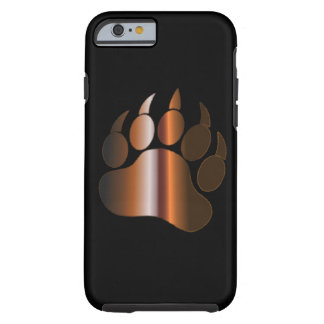 BROWN STEEL BEAR PAW ON BLACK TOUGH iPhone 6 CASE