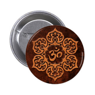 Brown Stone Floral Om 2 Inch Round Button