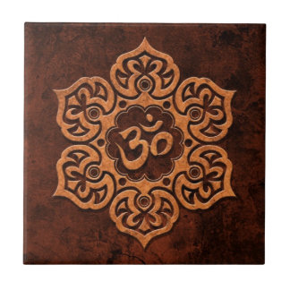 Brown Stone Floral Om Ceramic Tiles