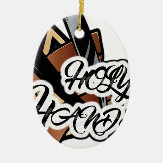 Brown straight razor graphic ceramic oval ornament