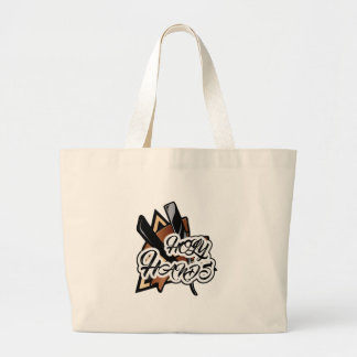 Brown straight razor graphic large tote bag
