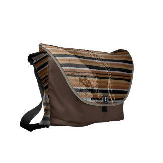 Brown Stripe Emboss Latex Messenger Bag