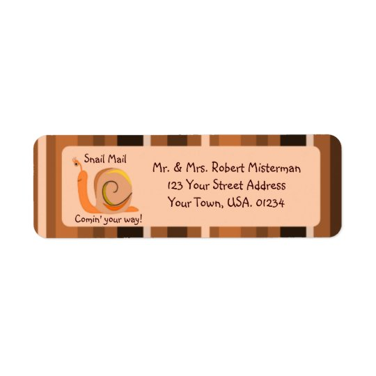 Brown Stripes Snail Mail Return Address Labels