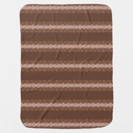 Brown Stripes with Circles Pattern Baby Blankets