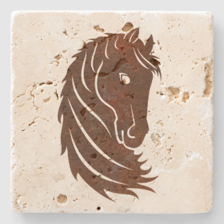 Brown Stylized Horse Profile Stone Coaster