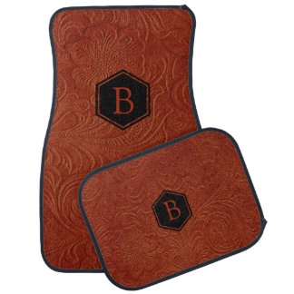 Brown Suede Leather Embossed Floral Pattern Car Floor Carpet
