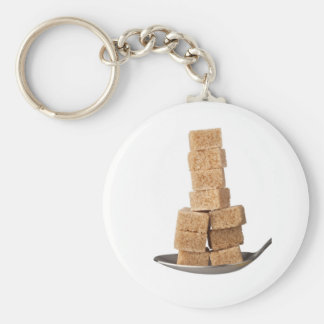 Brown sugar cubes basic round button keychain