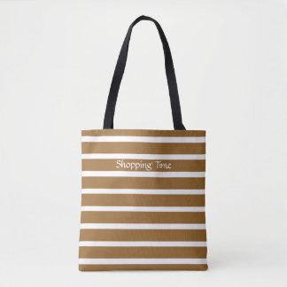 Brown Sugar Neutral Stripes Tote Bag