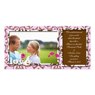 Brown Swirl Damask & Gerbers on Blue Save The Date Custom Photo Card