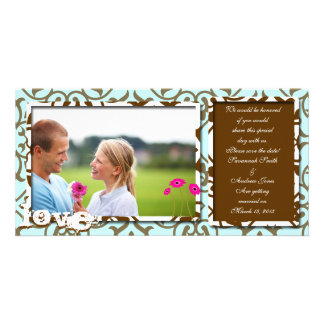 Brown Swirl Damask & Gerbers on Blue Save The Date Photo Greeting Card