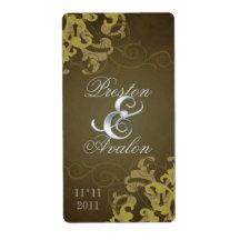 Brown Swirl Silver Jewelled Wedding Wine Label