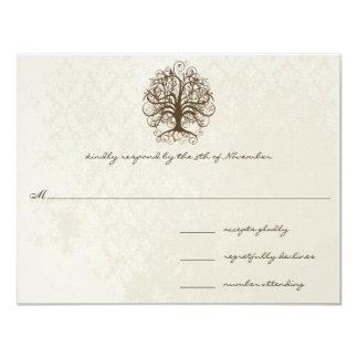 Brown Swirl Tree Distressed Damask Card