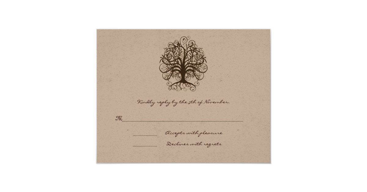 Brown Swirl Tree Wedding Response Card