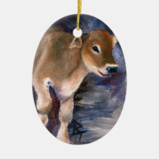 Brown Swiss Calf Ornament