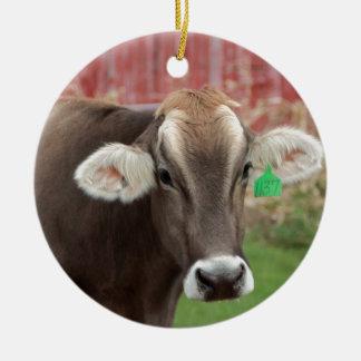 Brown Swiss Cow Ceramic Ornament