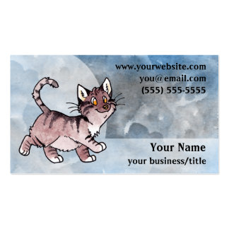 Brown Tabby Cat Business Card - Blue and Gray