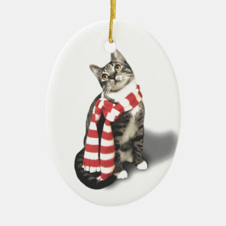 Brown Tabby Cat in a Red and White scarf Ceramic Ornament