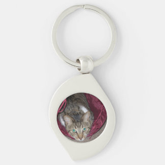 Brown Tabby Cat Swirl Keychain