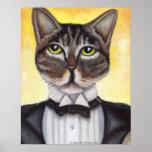 Brown Tabby Cat Wearing Tuxedo Feline Dandy Poster