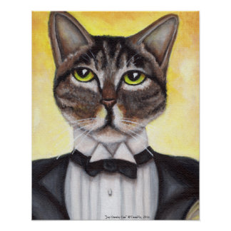 Brown Tabby Cat Wearing Tuxedo Feline Dandy Poster