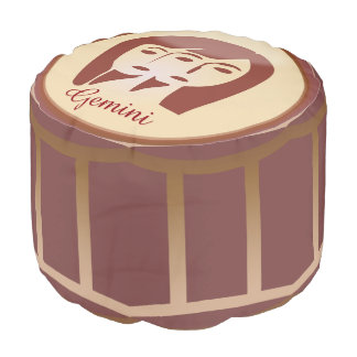 Brown, tan and burgundy Horoscope Sign Gemini Pouf