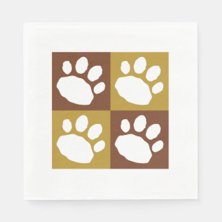Brown, Tan, and White Animal Print Silhouette Disposable Napkin