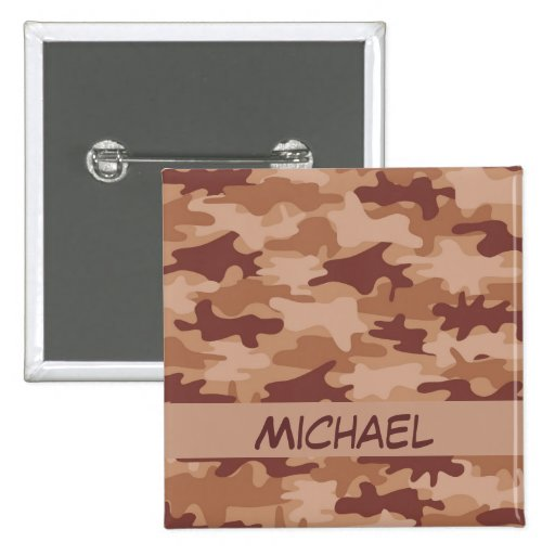 Brown Tan Camo Camouflage Name Personalized Button