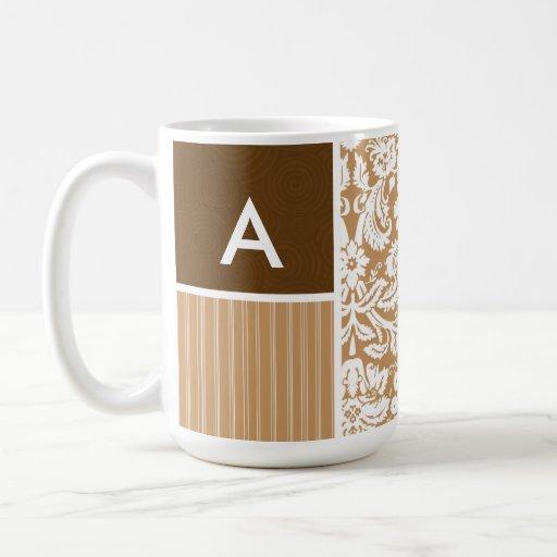 Brown, Tan Damask Pattern Coffee Mug