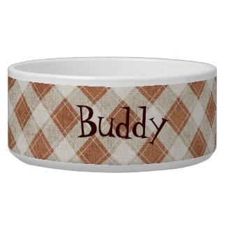 Brown & Tan Plaid Custom Dog Bowl