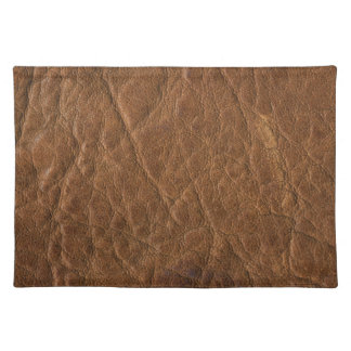 Brown Tanned Leather Texture Background Place Mat