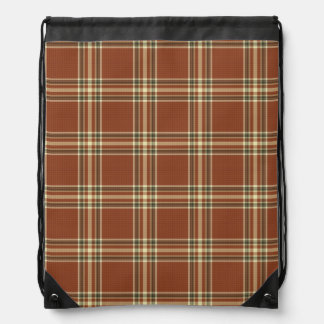 Brown Tartan Drawstring Backpack