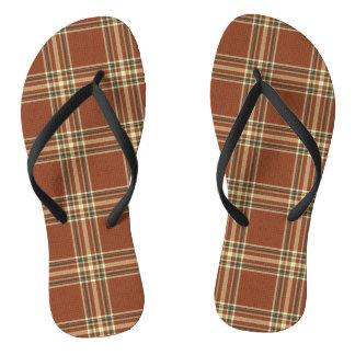 Brown Tartan Flip Flops