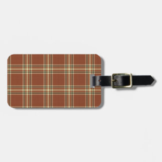 Brown Tartan Luggage Tag w/ leather strap