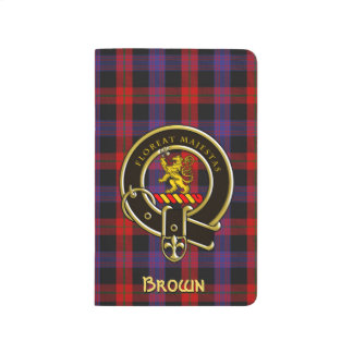 Brown Tartan Plaid and Clan Badge Journal