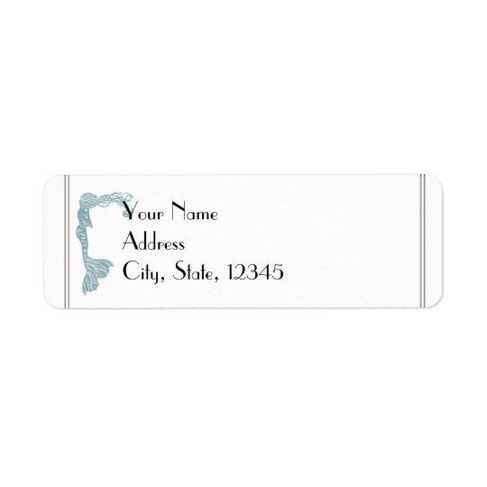 Brown Teal Art Deco Posh Wedding Label