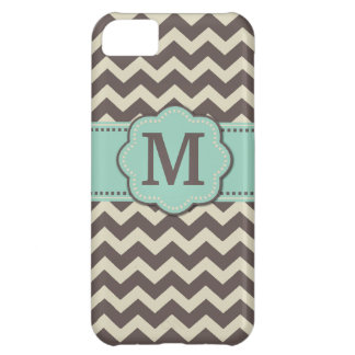 Brown Teal Chevron Monogram Cover For iPhone 5C