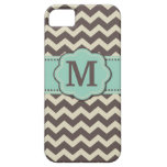 Brown Teal Chevron Monogram iPhone 5 Covers