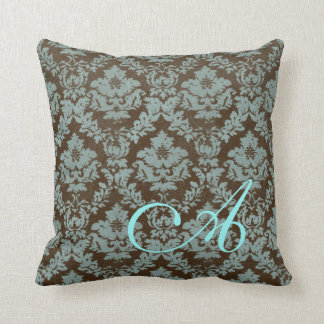 Brown / Teal Distressed Damask Personalized Pillow