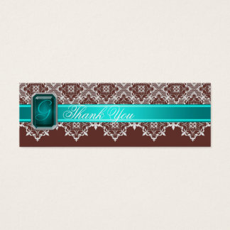 Brown & Teal Lace Jeweled Wedding Silver Favor Tag
