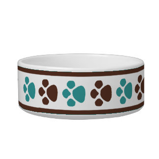 Brown & Teal Paw Prints Personalized Cat Bowl