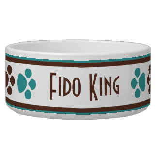 Brown & Teal Paw Prints Personalized Dog Bowl
