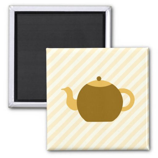 Brown Teapot Picture on Beige Stripes. Refrigerator Magnet
