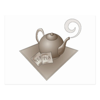 Brown teapot with teabags postcard